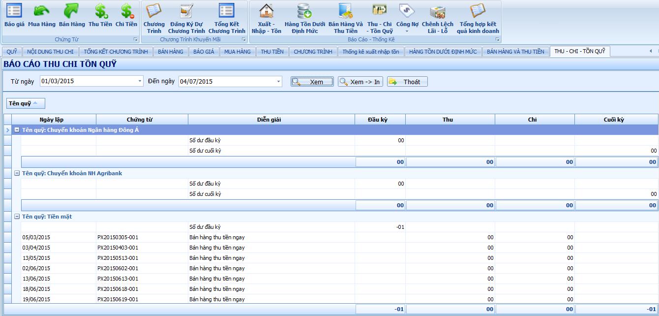 hệ thống báo cáo thu chi tồn quỹ