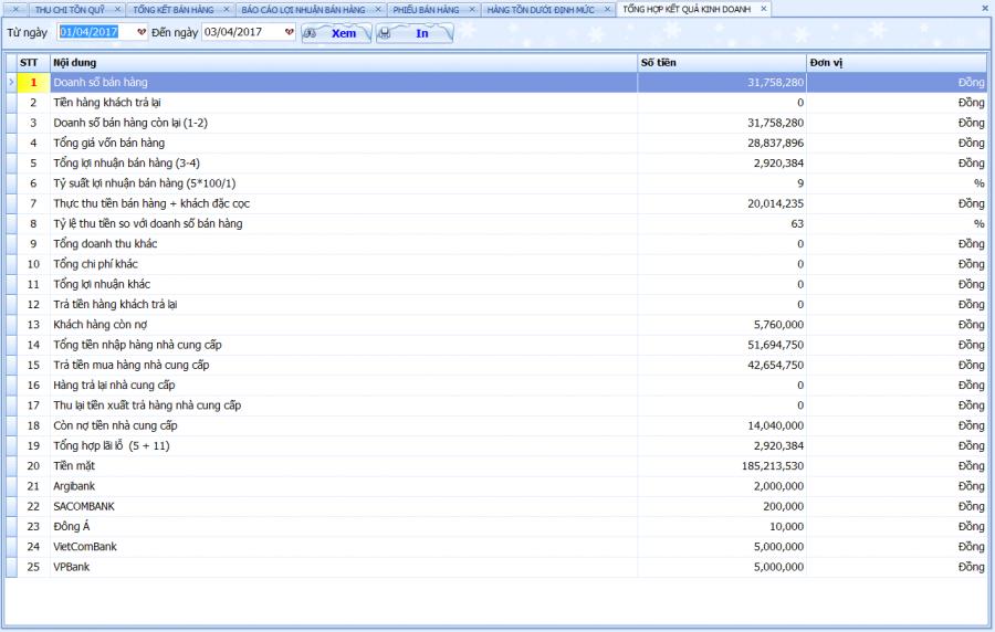 Phần mềm quản lý bán hàng vật tư, thiết bị điện nước 10