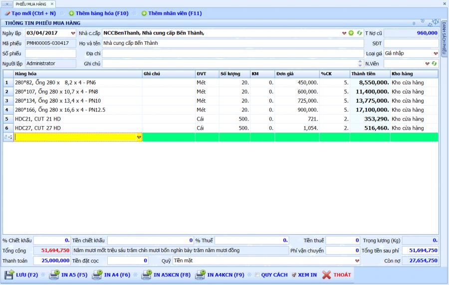 Phần mềm quản lý bán hàng vật tư, thiết bị điện nước 4
