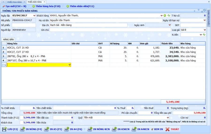 Phần mềm quản lý bán hàng vật tư, thiết bị điện nước 2