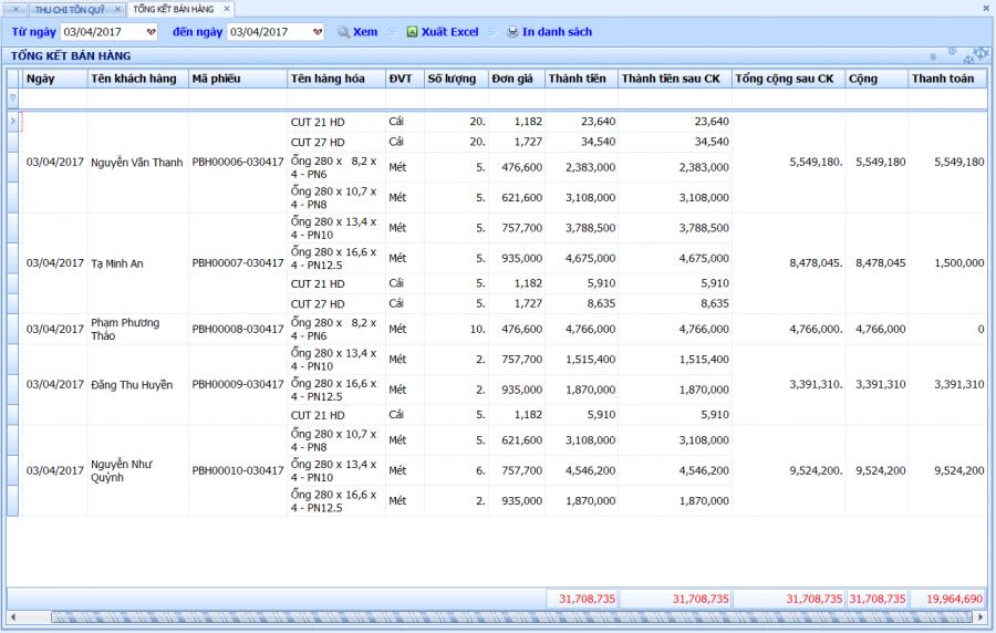 Phần mềm quản lý bán hàng vật tư, thiết bị điện nước 8