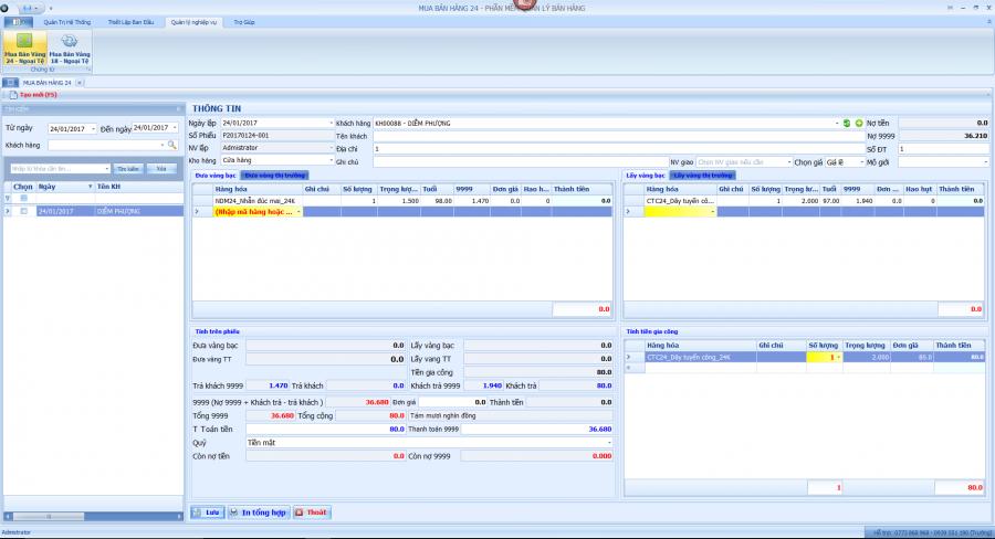 Phần mềm quản lý kinh doanh vàng, đá quý 5