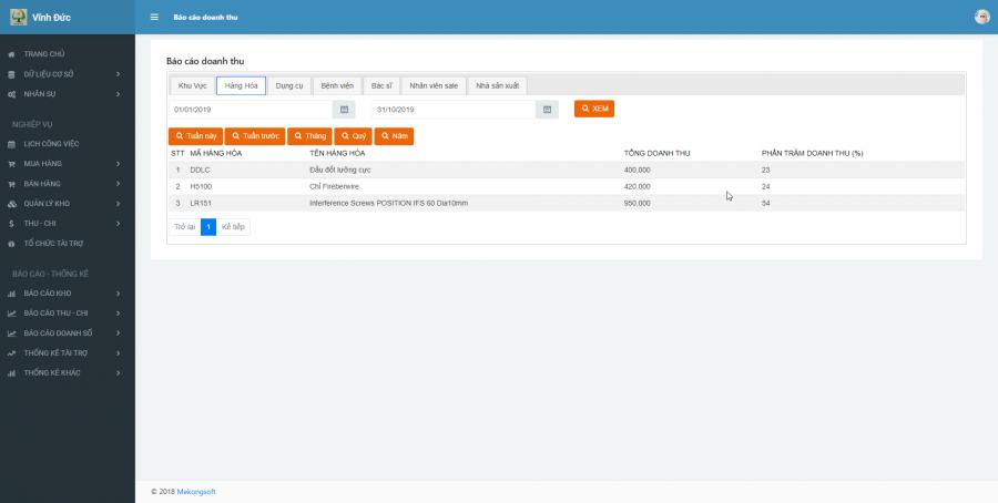 Phần mềm quản lý cho nhà cung ứng vật tư y tế Bệnh viện 8