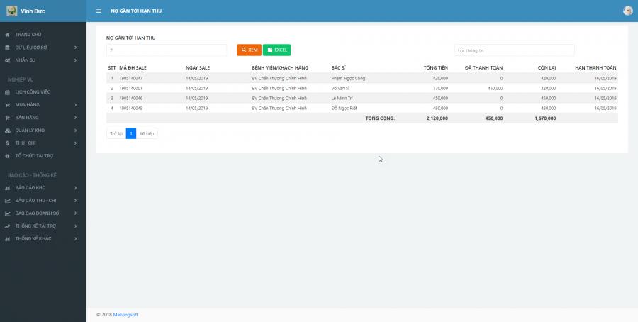 Phần mềm quản lý cho nhà cung ứng vật tư y tế Bệnh viện 6