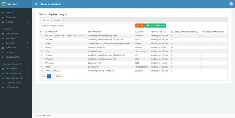 Phần mềm quản lý cho nhà cung ứng vật tư y tế Bệnh viện 4