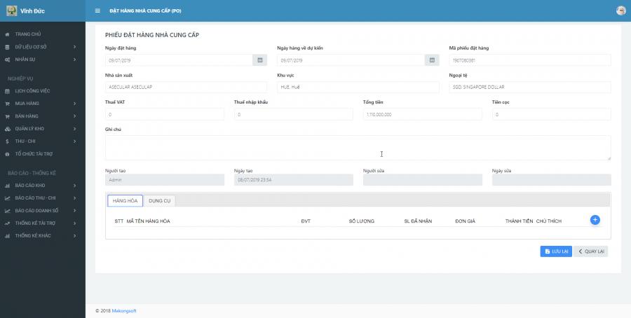 Phần mềm quản lý cho nhà cung ứng vật tư y tế Bệnh viện 2