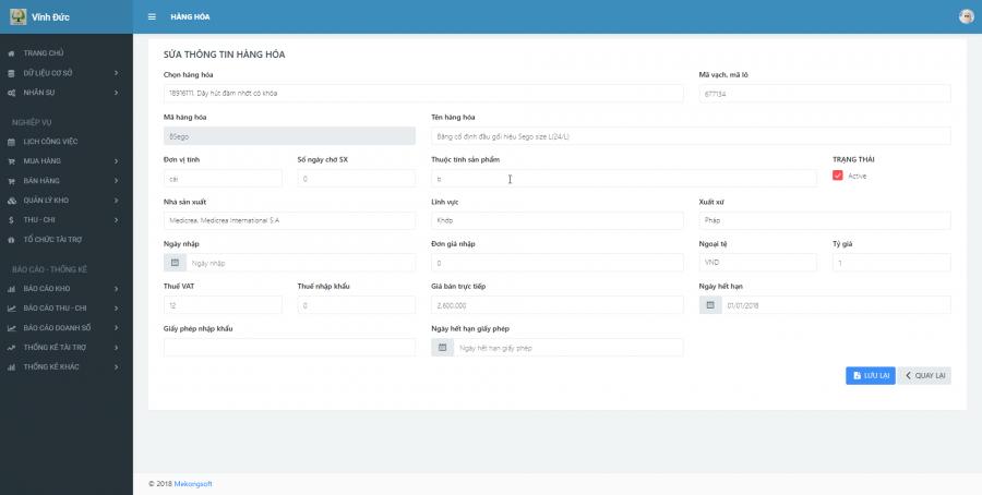 Phần mềm quản lý cho nhà cung ứng vật tư y tế Bệnh viện 1