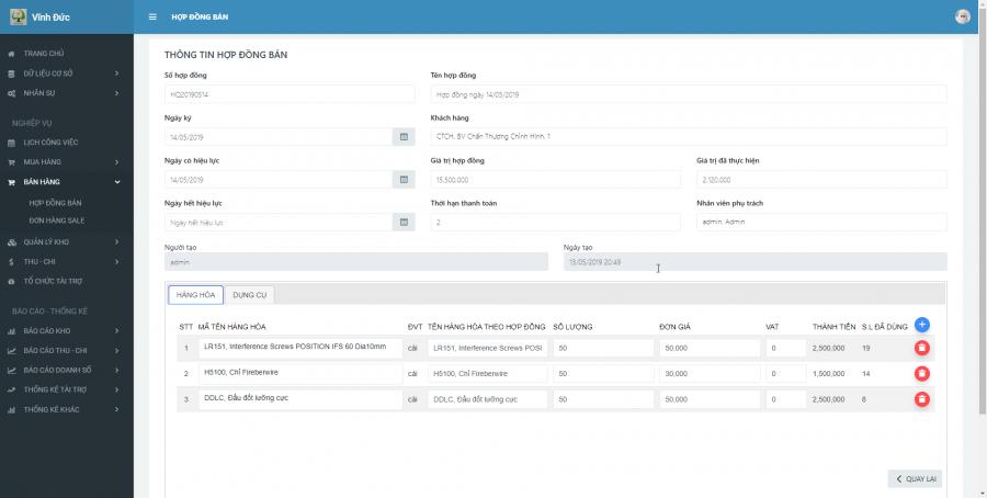 Phần mềm quản lý cho nhà cung ứng vật tư y tế Bệnh viện 3