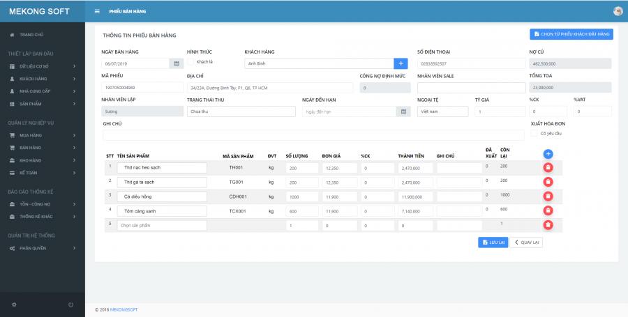 phần mềm quản lý cửa hàng thực phẩm sạch Mekong Soft 7