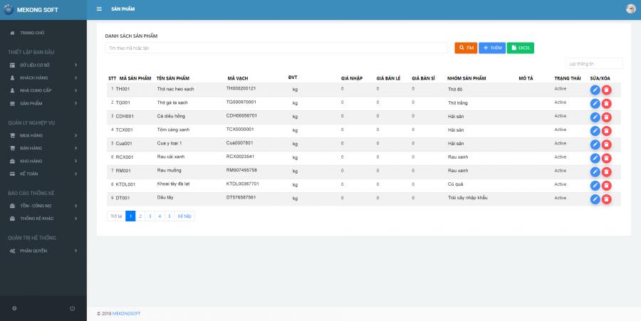 phần mềm quản lý cửa hàng thực phẩm sạch Mekong Soft 1