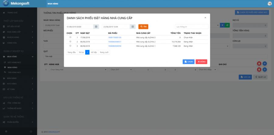 phần mềm quản lý cửa hàng thực phẩm sạch Mekong Soft 6