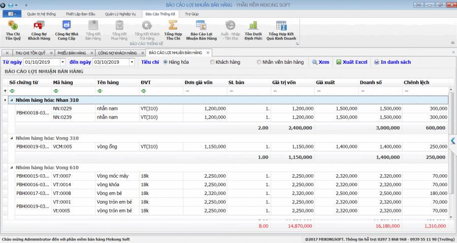 Phần mềm quản lý kinh doanh vàng, đá quý 8