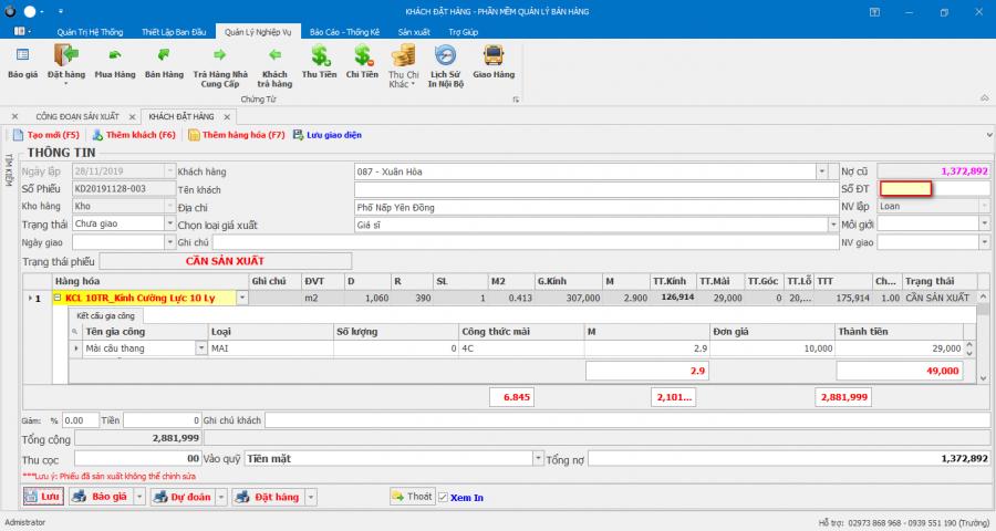 Phần mềm quản lý nhà máy sản xuất kính cường lực 2