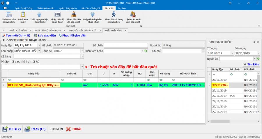 Phần mềm quản lý nhà máy sản xuất kính cường lực 9