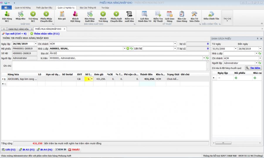 Phần mềm quản lý kinh doanh, thầu vật tư thiết bị Y tế - hình 11