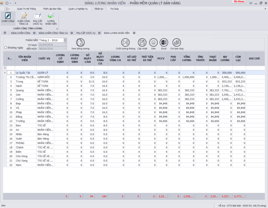 phần mềm quản lý nhân sự, tiền lương 4