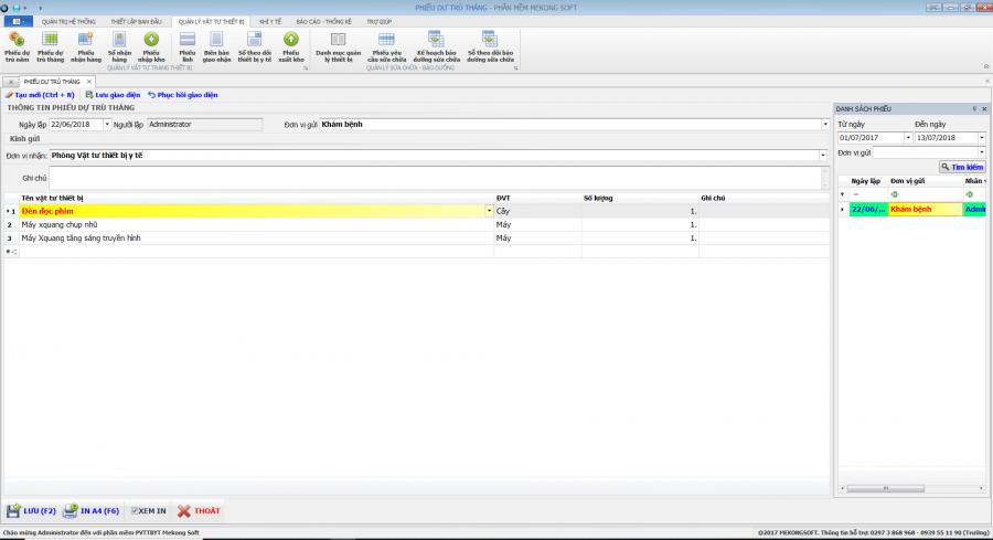 Phần mềm quản lý phòng vật tư thiết bị y tế bệnh viện 11