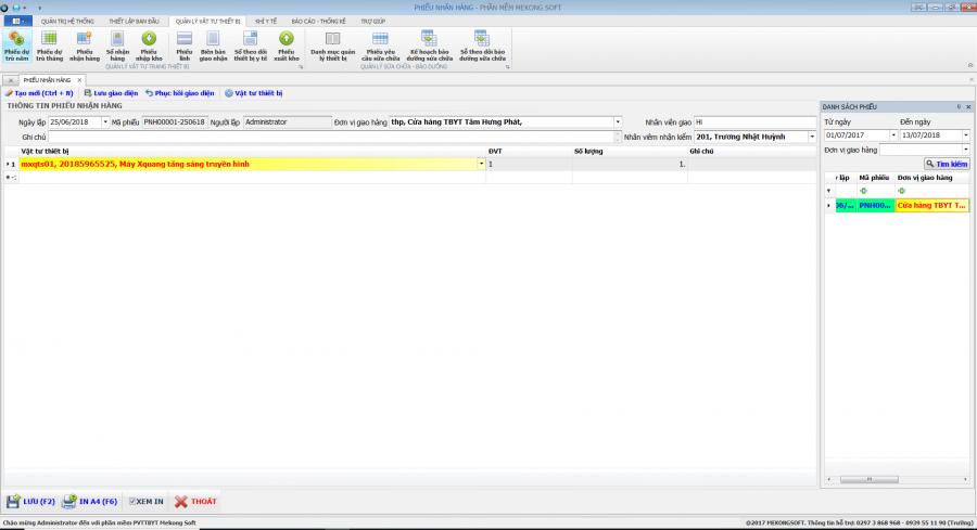 Phần mềm quản lý phòng vật tư thiết bị y tế bệnh viện 14