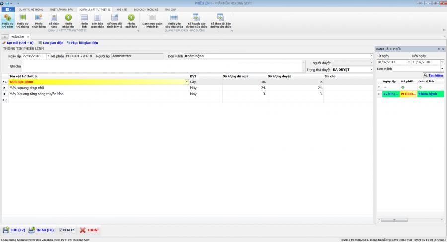Phần mềm quản lý phòng vật tư thiết bị y tế bệnh viện 16