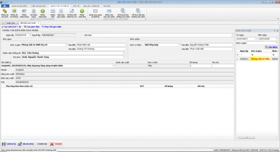 Phần mềm quản lý phòng vật tư thiết bị y tế bệnh viện 17