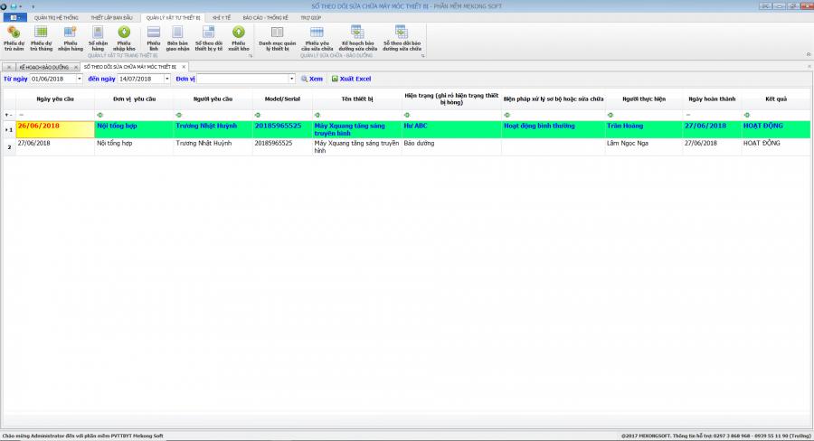 Phần mềm quản lý phòng vật tư thiết bị y tế bệnh viện 21