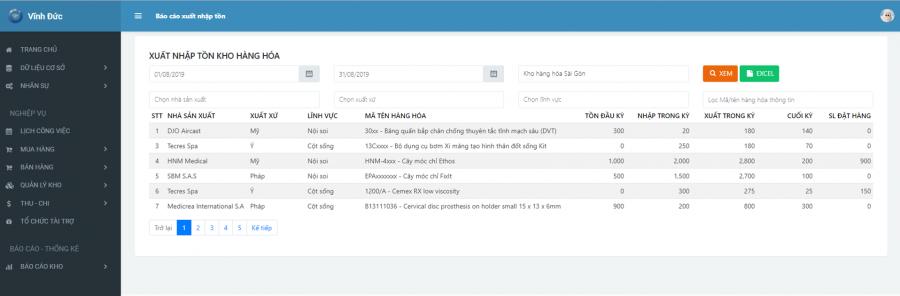 Phần mềm quản lý phòng vật tư thiết bị y tế bệnh viện 28