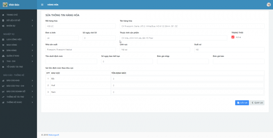 Phần mềm quản lý kinh doanh, thầu vật tư thiết bị Y tế - hình 2