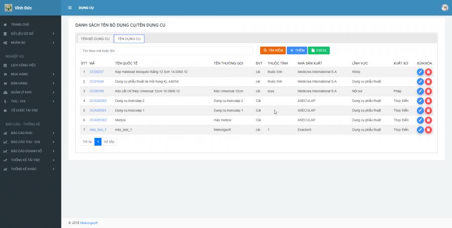 Phần mềm quản lý kinh doanh, thầu vật tư thiết bị Y tế - hình 3