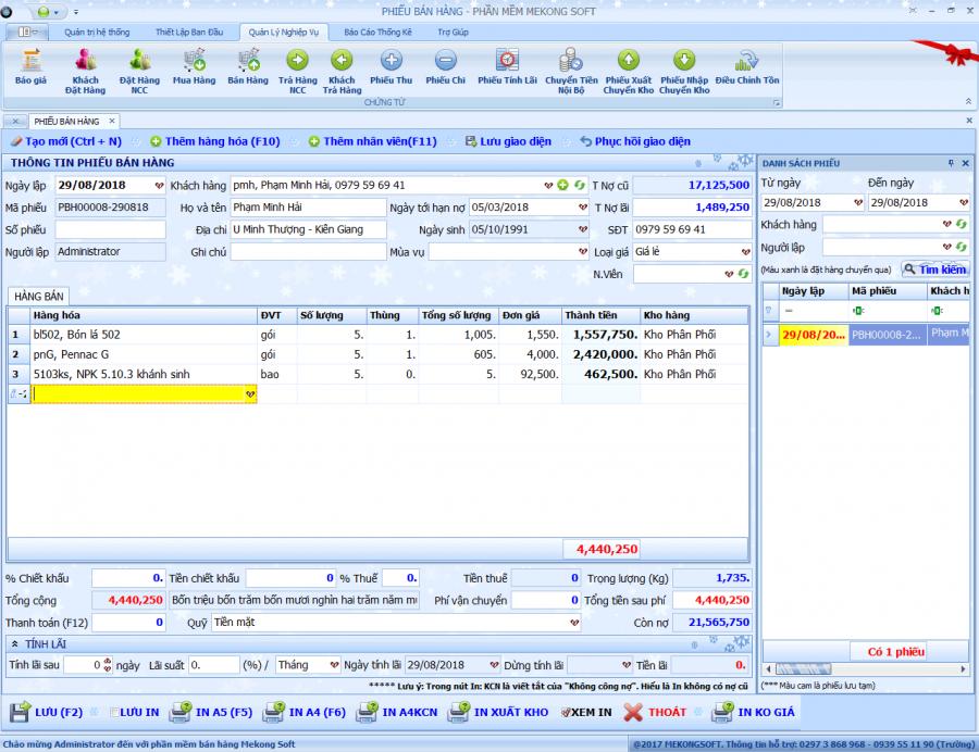 Phần mềm quản lý bán hàng vật tư nông nghiệp 5