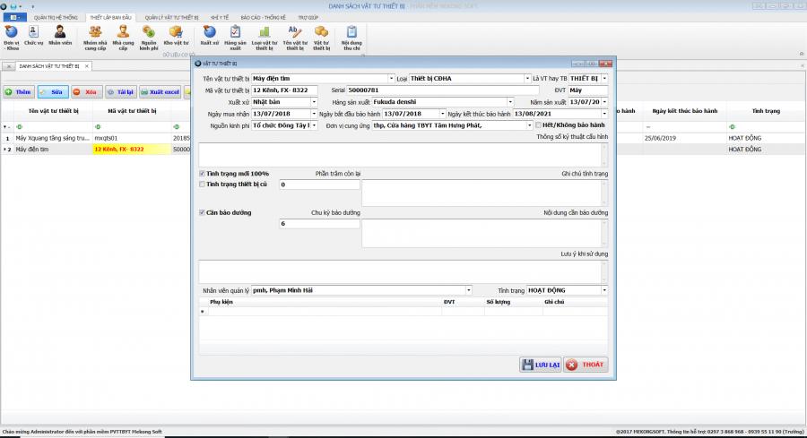 phần mềm quản lý phòng vật tư thiết bị y tế Mekong Soft 3