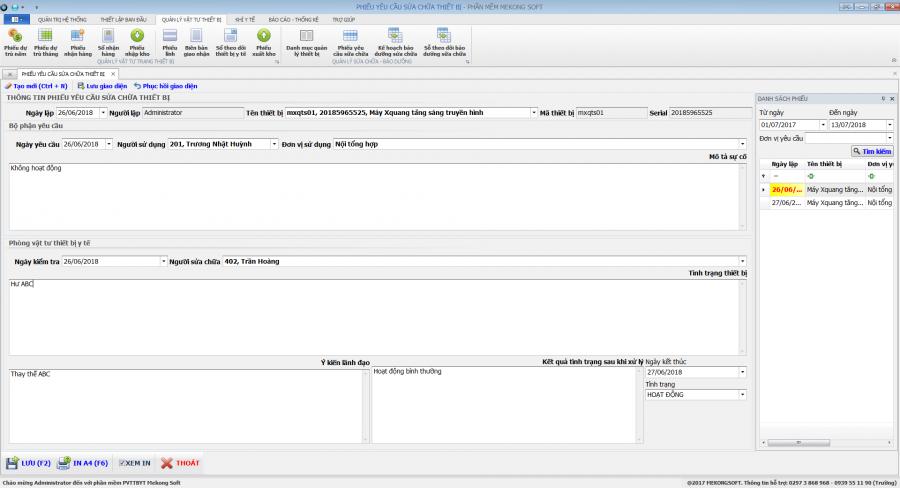 phần mềm quản lý phòng vật tư thiết bị y tế Mekong Soft 5
